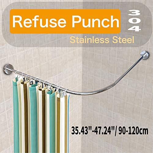 Begleri Shower Curtain Rods Tension Mount Curved Rod Neverrust Rustproof 35 43 47 24 90 120cm