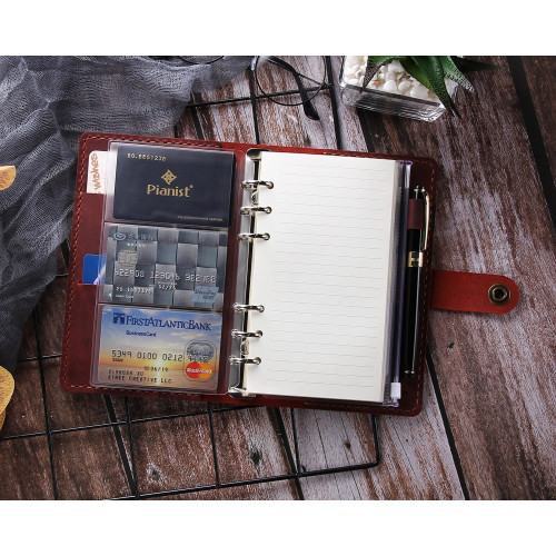 Refillable Ring Binder Leather Journal Notebook, 6-Ring Loose Leaf Planners  and Organizers, Handmade Spiral Diary A6 Traveler Notebook