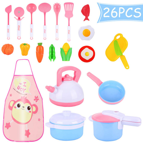 Auney Kids Kitchen Pretend Play Accessories Toys, Cooking Set, Pots and  Pans, Cookware Playset, Healthy Cutting Vegetables, Knife, Utensils,  Learning ...